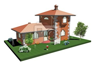 Casa di Mattoni Campagna-Country Brick House-3D-2