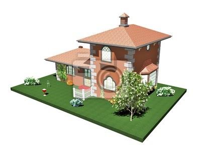 Casa di Mattoni Campagna-Country Brick House-3D-3