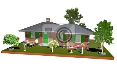 Casa di Mattoni Campagna-Country Brick House-3D