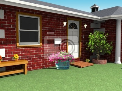Casa di Mattoni-Dettaglio Giardino-Bricks House Exterior-3d