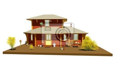 Casa di Montagna-Baita-Chalet-Wooden House-3d