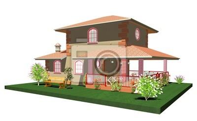 Casa in Pietra con Veranda-Little Country Home with Garden-3d