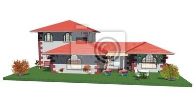 Casa Villa in Pietra e Giardino-Country Cottage with Garden-3D