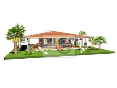 Casetta villa Caraibi-Carribean House-Bungalow-3d