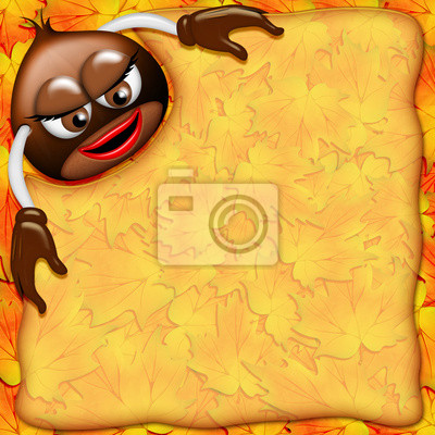 Castagna Cartoon-Chestnut Background-Châtaigne