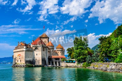 Wall mural Castle Chillon one of the most visited castle in Switzerland