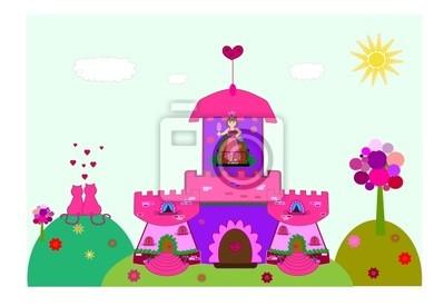 castle with a princess vector