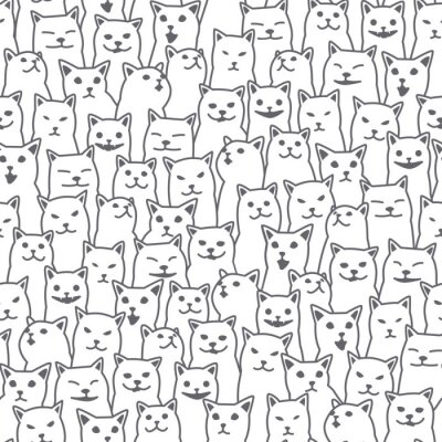 Wall mural Cat kitten breed doodle Vector Seamless Pattern isolated wallpaper background white