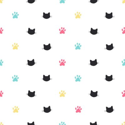 Wall mural cat paw track vector seamless pattern