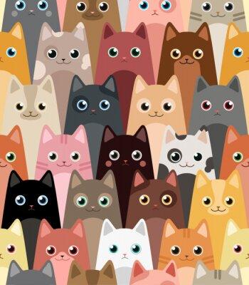 Wall mural Cats. Cartoon vector seamless wallpaper.