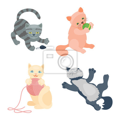 Wall mural Cats collection vector silhouette. Cute domestic cats different animals. Different cats young adorable tail symbol playful paw. Cartoon funny standing drawing domestic pussy characters set.