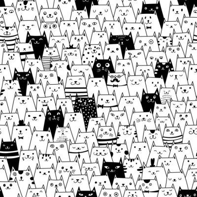 Wall mural Cats seamless vector pattern