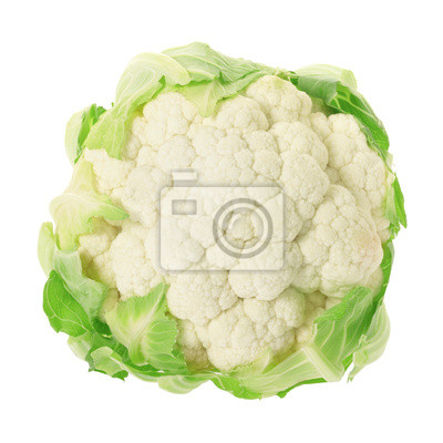 Wall mural Cauliflower isolated on white, clipping path included