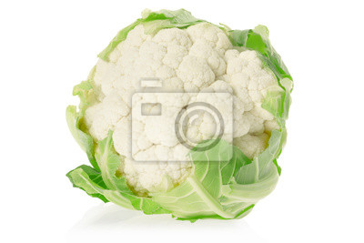 Wall mural Cauliflower on white, clipping path included