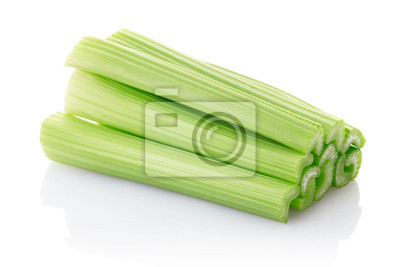 Wall mural Celery sticks isolated on white, clipping path included