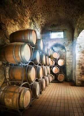 Wall mural Cellar With Barrels For Storage Of Wine
