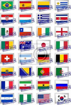 Certified postage stamps with flags of the participating countri