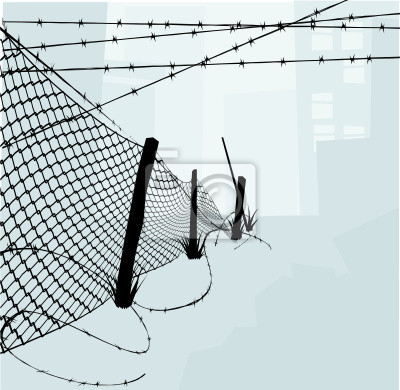 Wall mural Chain Link Fence and Barbed Wire Vector Illustration