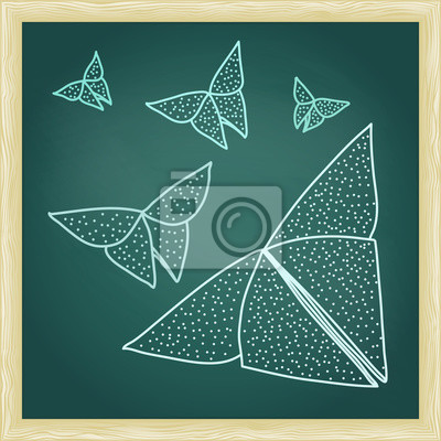 Wall mural Chalkboard with drawing of origami butterflies