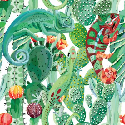 Wall mural chameleon and cactus seamless background