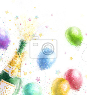 Wall mural Champagne party.New Year..Birthday greeting card.
