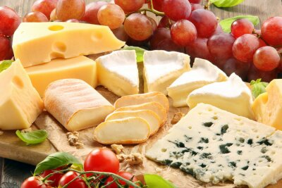 Wall mural Cheese board - various types of cheese composition