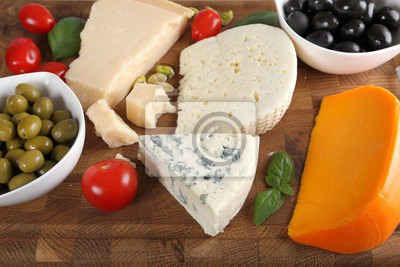 Cheeses and olives.