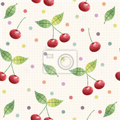 Cherry seamless pattern , fabric design, wrapping paper, cover.