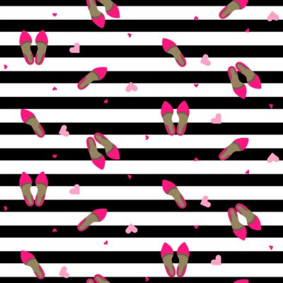 Wall mural Chic girl fashion seamless pattern. Stylish pump shoes vector repeat black and white stripe background.