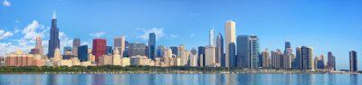 Wall mural Chicago skyline panorama with Lake Michigan, IL, United States