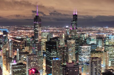 Wall mural Chicago Urban aerial view at dusk