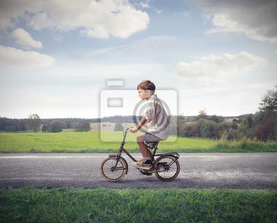Child Cycling Forward