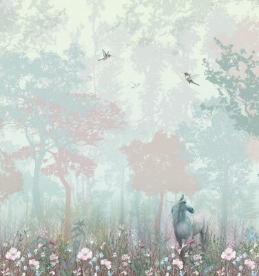 Wall mural Children's wallpaper. Blue and pink forest. Fairy forest with horse and caliber.