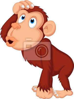 Chimpanzee cartoon thinking