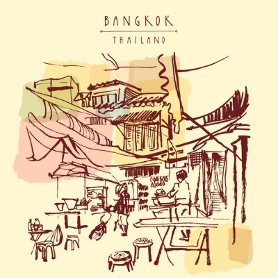 Wall mural China town in Bangkok, Thailand. Food stalls, tables, stools. People buying Chinese food in a simple street cafe. Vertical vintage hand drawn postcard. Vector illustration