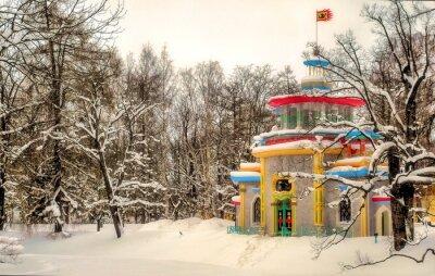 Chinese arbor in  winter Alexander Park in Tsarskoye Selo in St. Petersburg