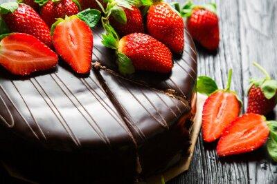 Wall mural Chocolate cake with fresh strawberries