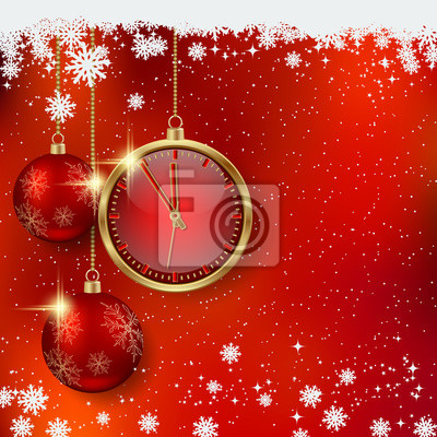 Christmas and New Year red blurry vector background with luxury balls and clock