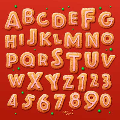 Wall mural Christmas gingerbread cookies alphabet and numbers