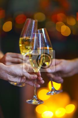 Christmas illuminations and champagne glass.