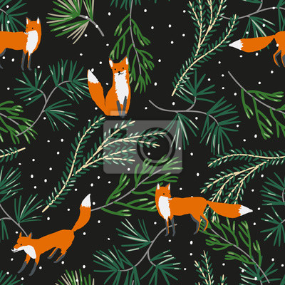 Wall mural Christmas seamless pattern, black background. Forest fox animals, green pine twigs, snow. Vector illustration. Nature design. Season greeting. Winter Xmas woodland holidays