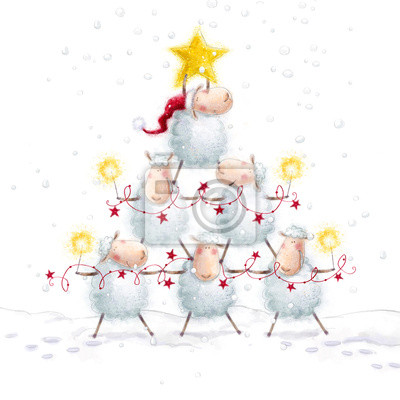 Christmas sheep.Christmas Tree with Star made of cute sheep.
