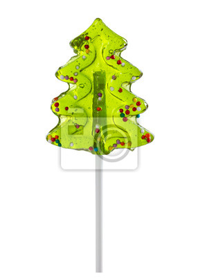 Wall mural Christmas tree shaped lollipop isolated on white