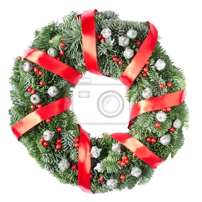 Wall mural Christmas wreath with red ribbon isolated