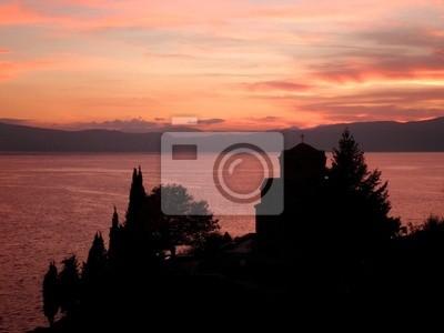 Church Lake Ohrid Macedonia Sunset