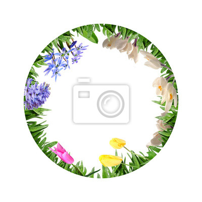 circle from diferent flowers in grass on white