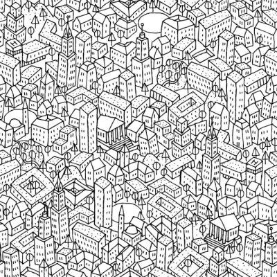 Wall mural City seamless pattern