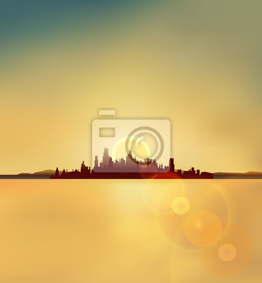 city silhouette background in sunset vector