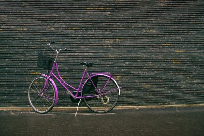Wall mural Classic Vintage Purple Hipster Bicycle on the Street