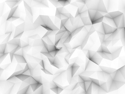 Wall mural Clean white low polygon background from 3d rendering.